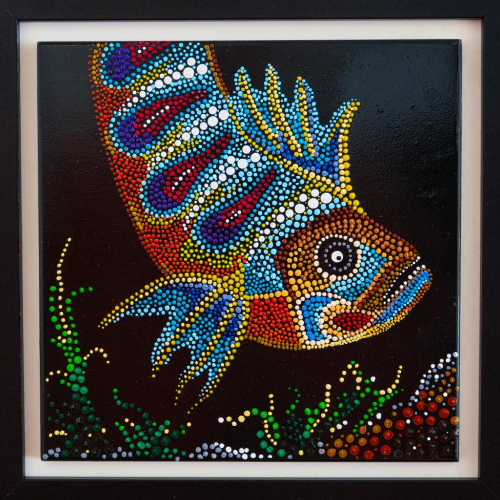 Mandala Fisch gerahmt schwarz